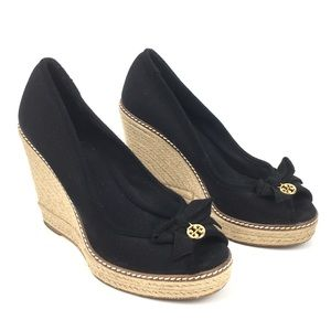 Tory Burch canvas wedge heel sandal black